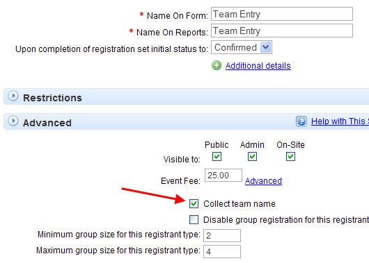 Online Team Registration